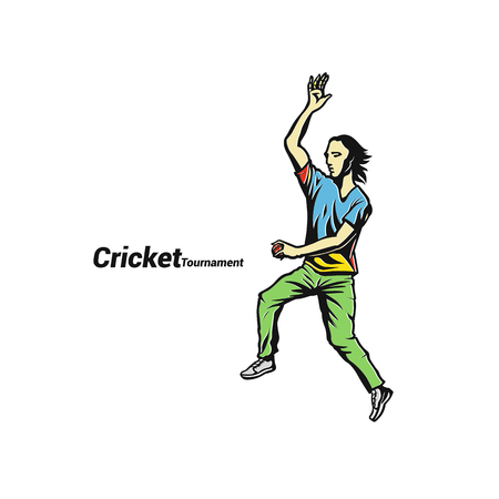 Sketch of cricket player vector illustration