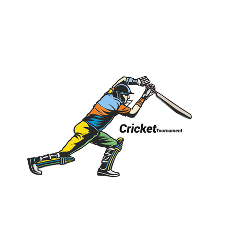 Hand drawn cricket player image