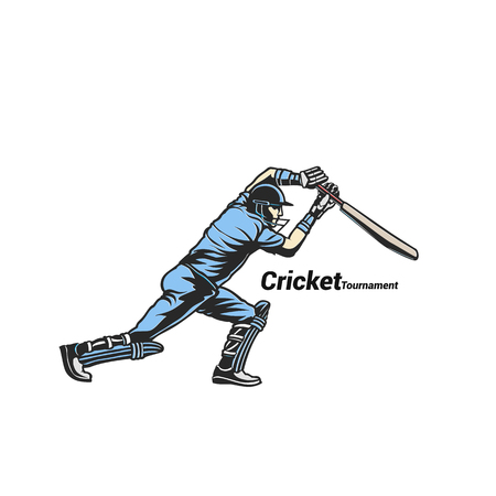 Blue cricket bats man vector illustration.