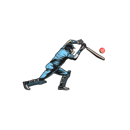 cricket player hit big shoot vector illustration.
