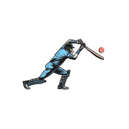 cricket player hit big shoot vector illustration.