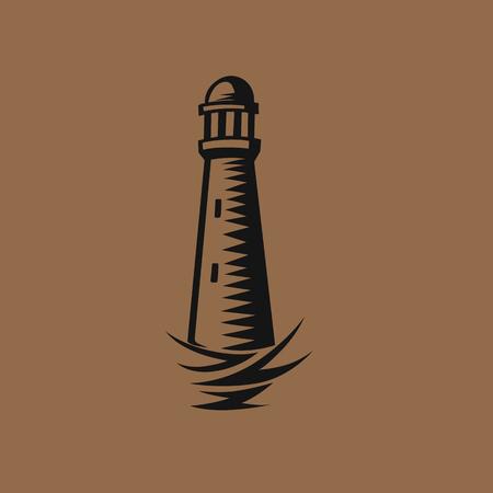 A stylised black lighthouse vector illustration