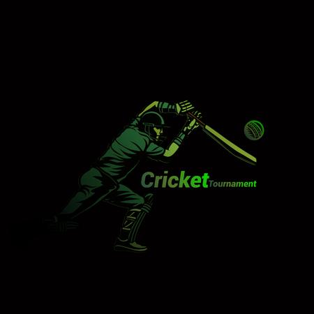 Cricketer in green vector illustration.