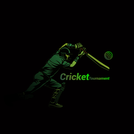 Cricketer in green vector illustration.