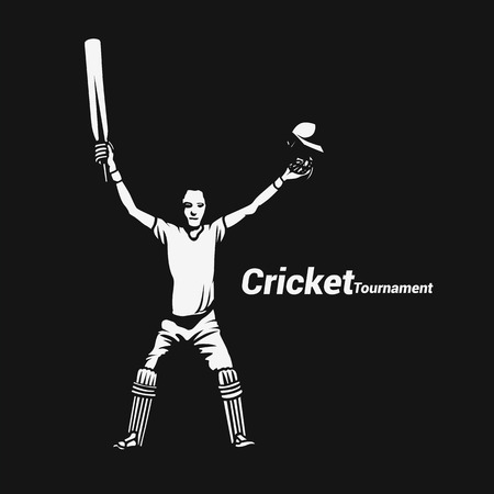 Portrait of a cricket batsman showing vector illustration. Çizim