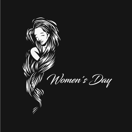 A Minimal logo of womens day vector illustration design.