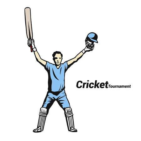 Cricket victory in blue vector illustration Фото со стока - 95655971