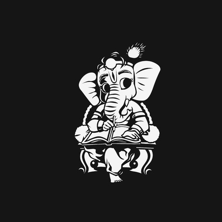 Illustration of happy ganesh chaturthi on black background.