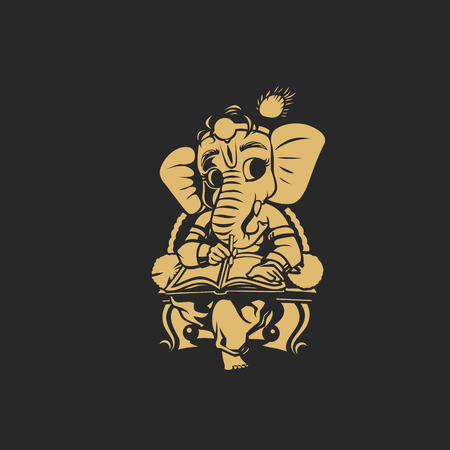 Golden Ganesha vector illustration.