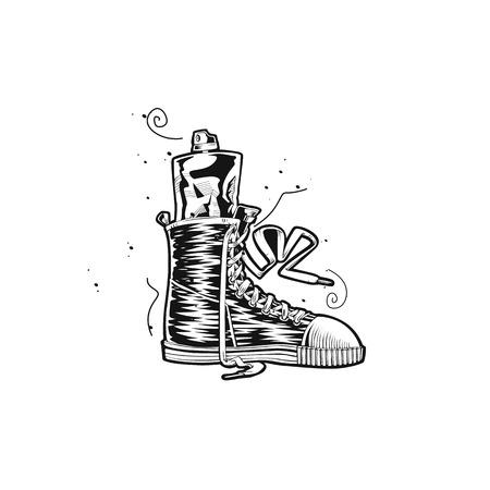 Hand drawn sports shoe vector illlustration.