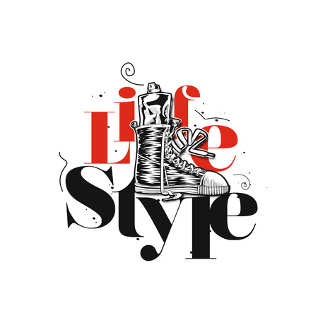 Red and black lifestyle text vector illustration design.