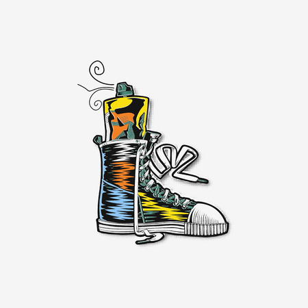 Shoes flat icon with bright colorful running sneakers vector illustration. Archivio Fotografico - 95986013
