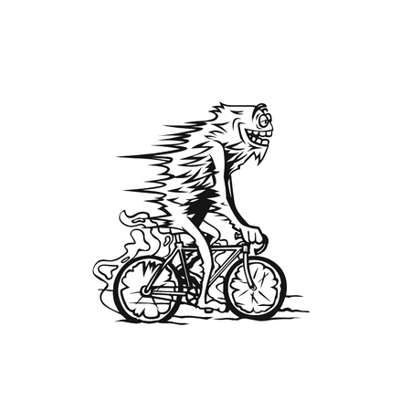 man rides a bicycle ride, vector line drawing illustration