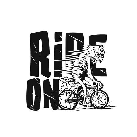 Young handsome man riding bicycle vector illustration. Reklamní fotografie - 95986027