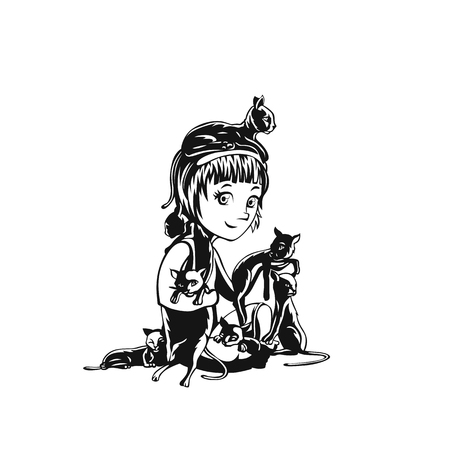 Teen girl and cats vector illustration.