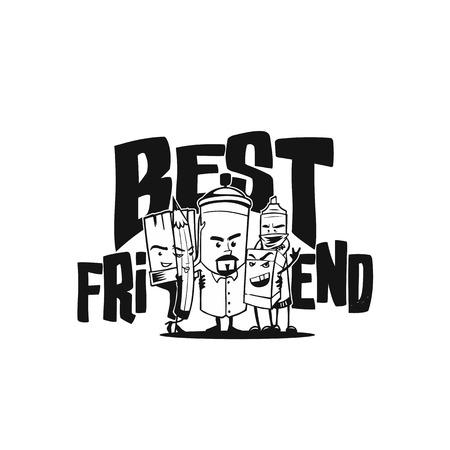 Mejores amigos de la ilustración vectorial de diseño . Foto de archivo - 96044687