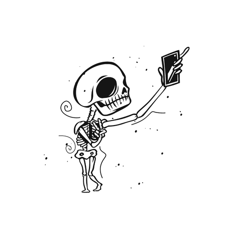 Skeleton holds mobile phone vector illustration design.
