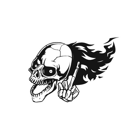 skull flying vector illustration.