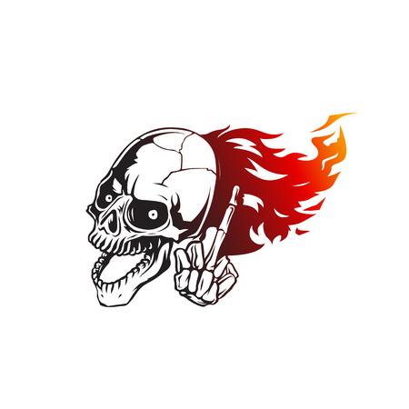 Skull flames front face vector illustration