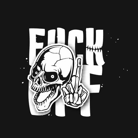 Human white skull vector illustration Vectores
