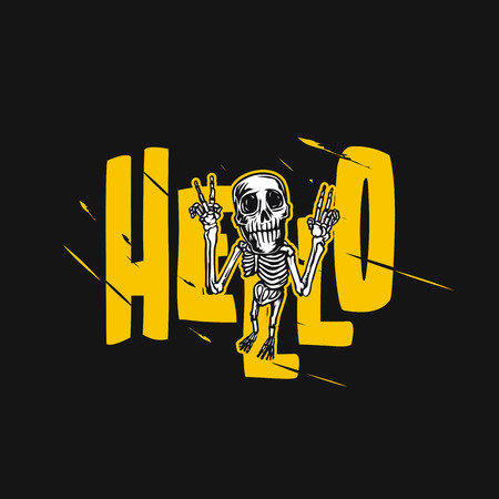 A skeleton raises his hands vector illustration.