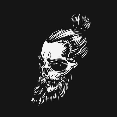 Hipster skull print for t-shirt vector illustration. Reklamní fotografie - 95991543