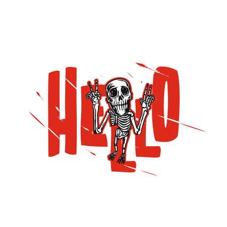 Joyful skeleton vector illustration.  イラスト・ベクター素材