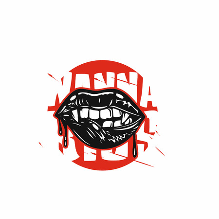 Devil biting lips vector illustration. Фото со стока - 95991596