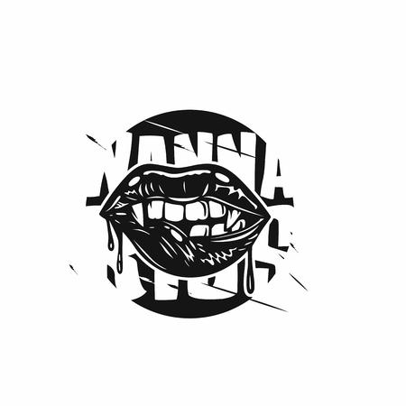 Hand draw Devil lips vector illustration design  イラスト・ベクター素材