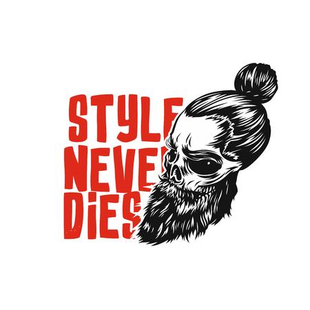 Swag skull with beard vector illustration.