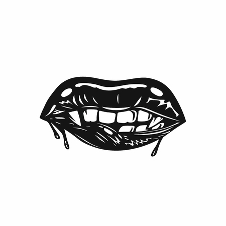 Vampires mouth with fangs vector illustration.