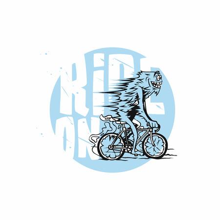 Ciclista en azul y blanco estilizada ilustración vectorial estilizada . Foto de archivo - 96044699