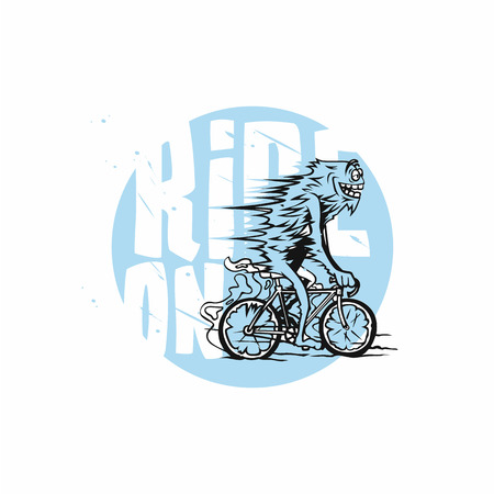 Cyclist in blue and white geometric stylized vector illustration.