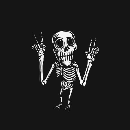 Hand drawn skull, posing, t-shirt print, vector illustration.