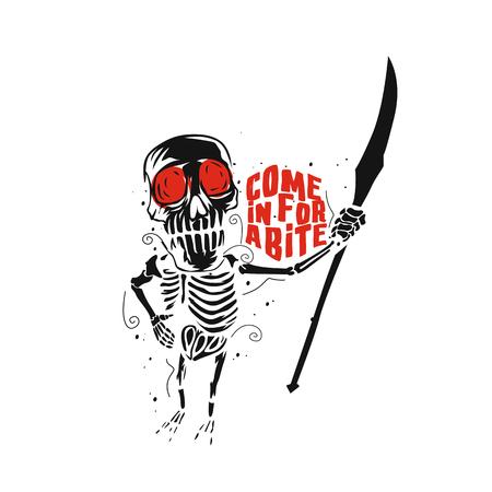 Skull bite vector illustration design.
