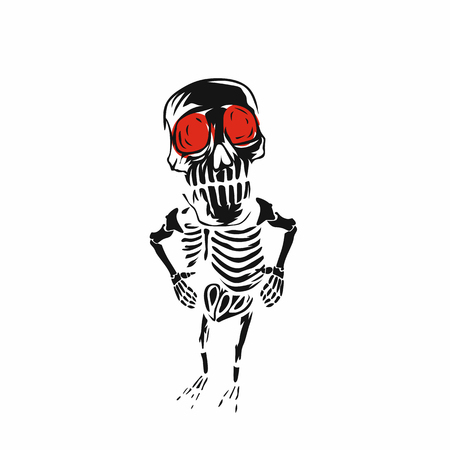 Abstract skeleton with red eyes vector illustration Ilustração