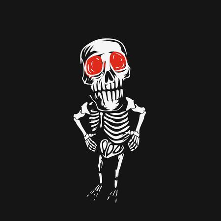 Skeleton skull with red eyes on black background vector illustration.