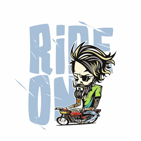 A man riding the bike vector illustration design. Çizim