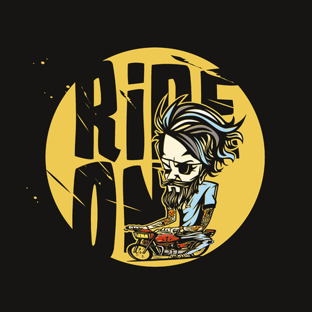minimal logo of golden bike rider vector illustration