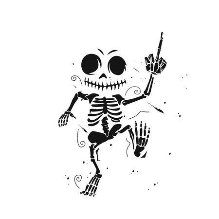 Dancing skeleton  illustration.