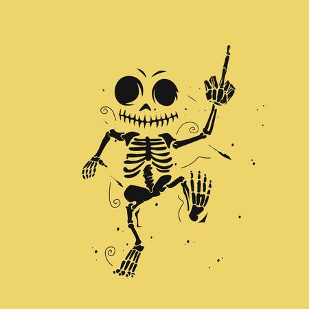 黄色の背景に踊るスケルトンのイラスト。