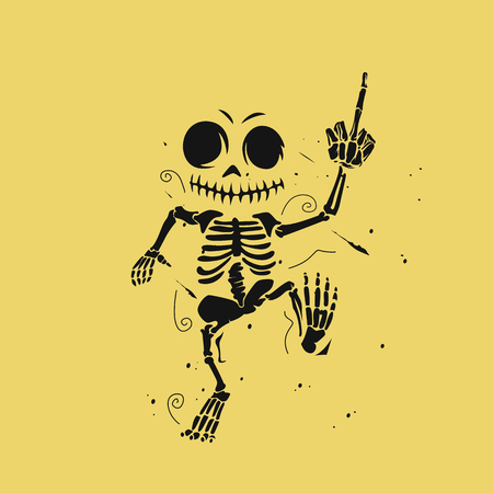Dancing skeleton  illustration on yellow background.
