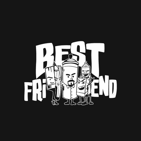 Cartoon illustration of best friends on black background.