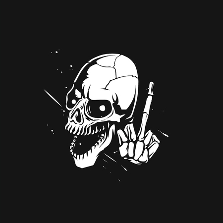 sketch of the skull with middle finger vector illustration design. Vectores