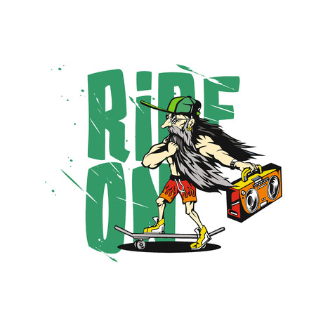 Old man with long beard  illustration on ride on lettering backdrop. Illustration