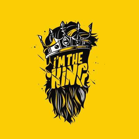 Progettazione di massima minima di logo dell'illustrazione della barba e della corona di re. Archivio Fotografico - 95902921