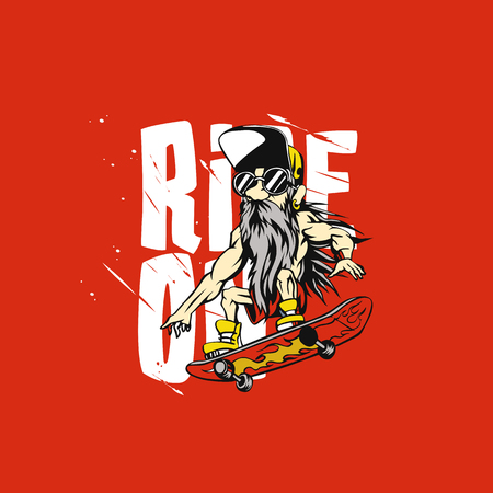 Cool grandfather on skateboard illustration on red background. Ilustracja