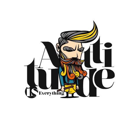 A colorful attitude man vector illustration.