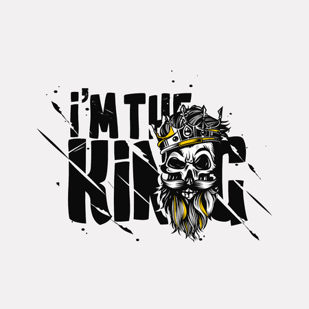Hand drawn king, t-shirt print vector illustration