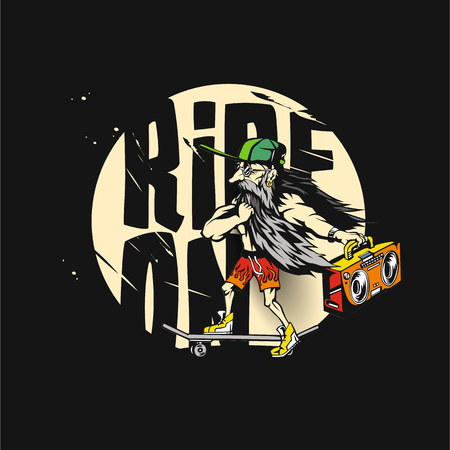 Old man with green cap vector illustration - ride off.